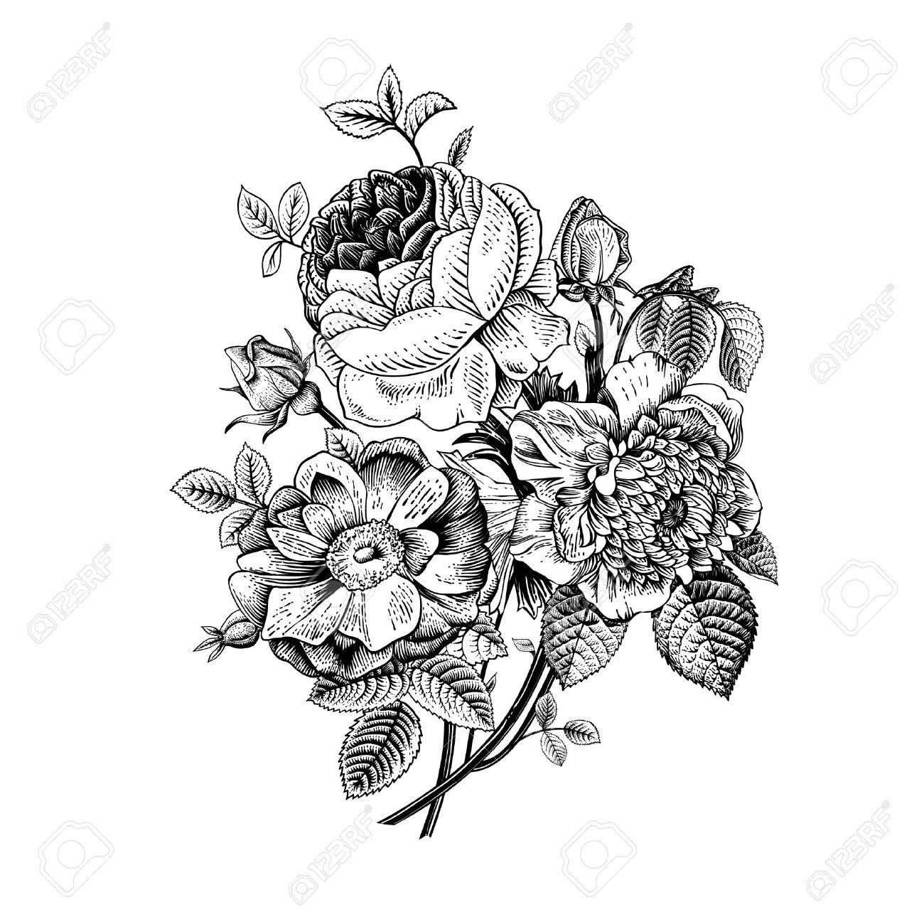 Célèbre Fleurs Noir Et Blanc Banque D'Images, Vecteurs Et Illustrations  TT69