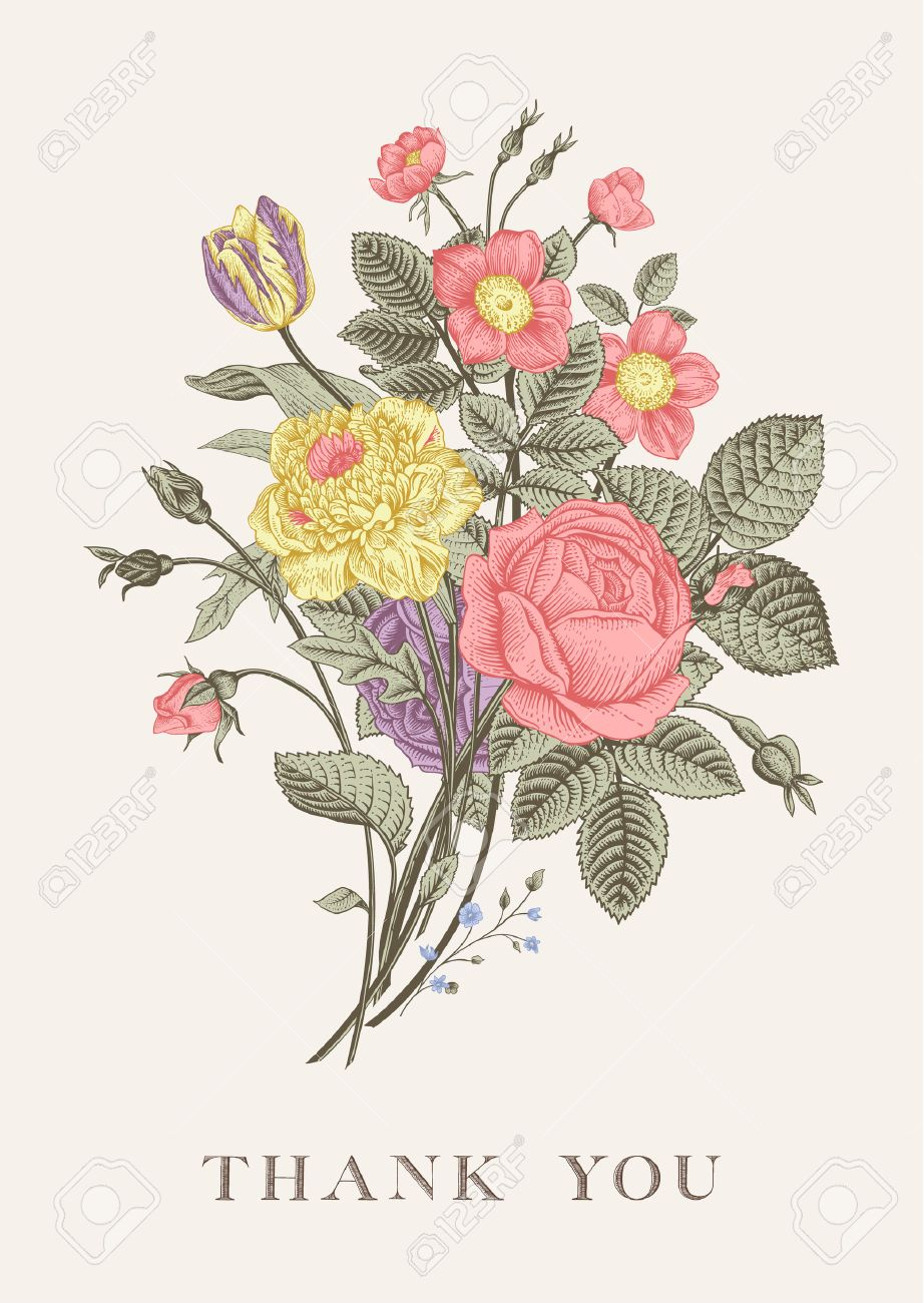 Floral Card Bouquet Of Roses Tulip Dog Rose And Anemone Vintage Royalty Free Cliparts Vectors And Stock Illustration Image 35984682