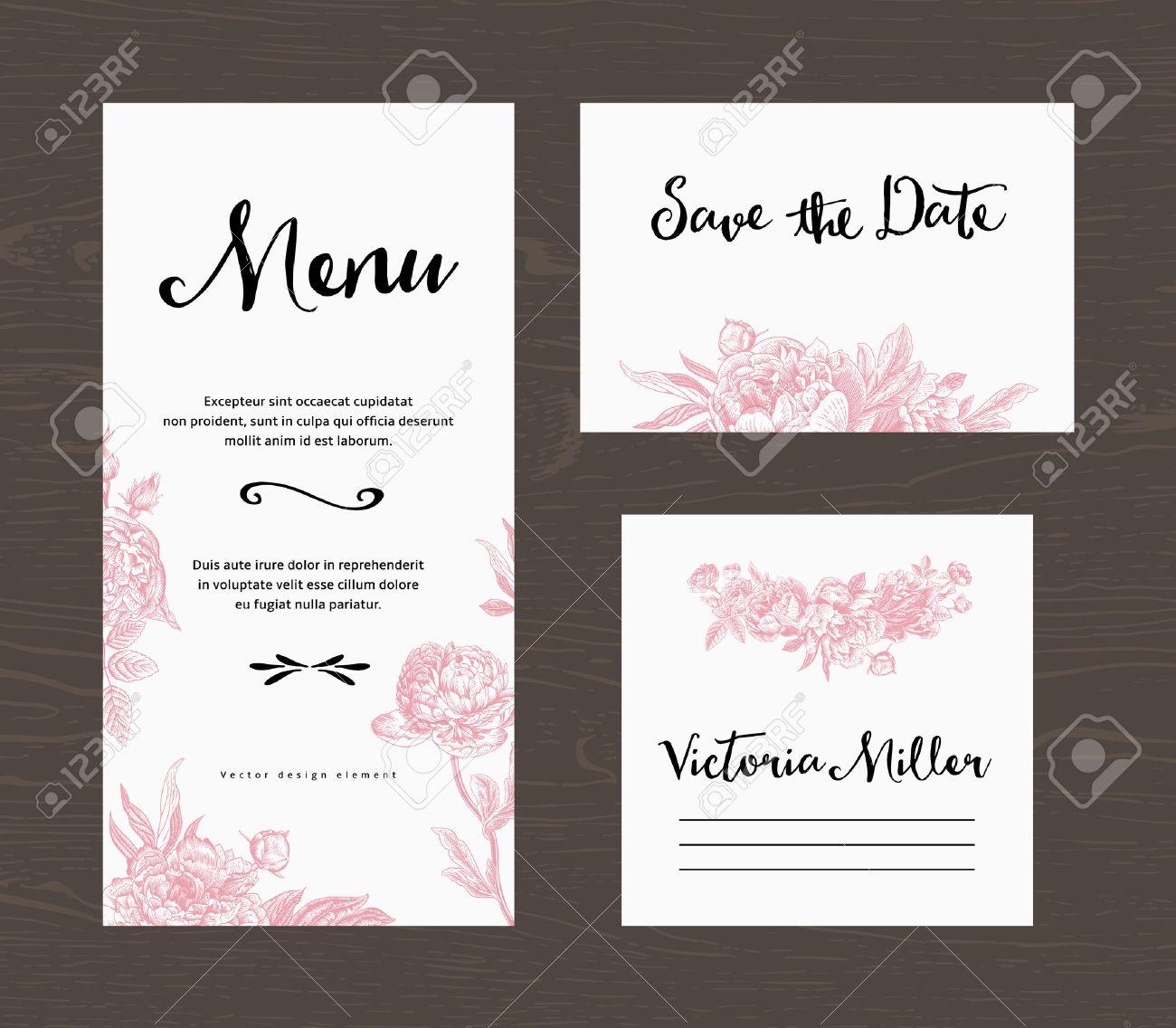Wedding Set Menu Save The Date Guest Card Pink Flowers Peonies