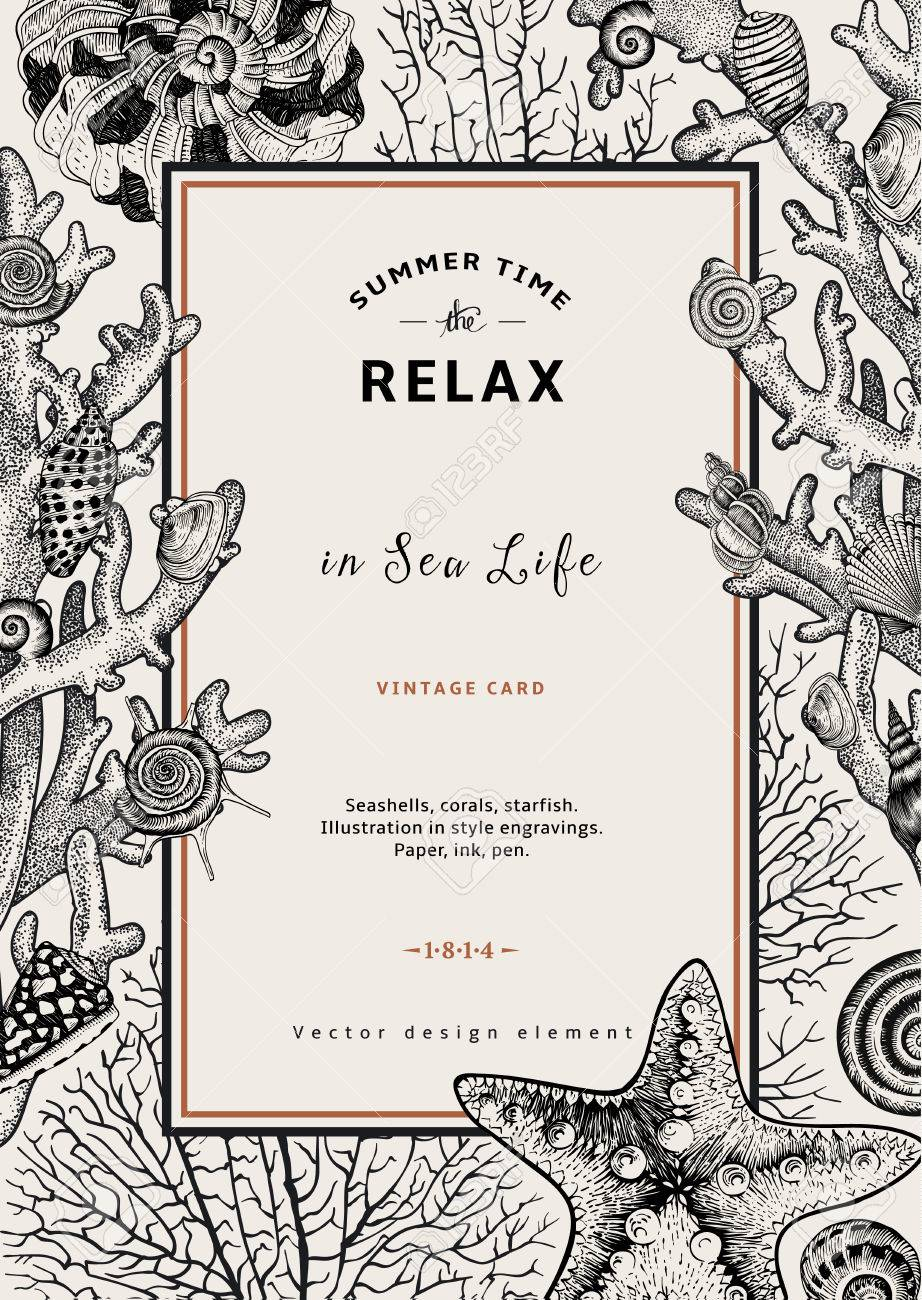 Relax. Summer rest. Vintage card. Frame with seashells, coral and starfish. Black and white vector illustration in style engravings. - 50286896