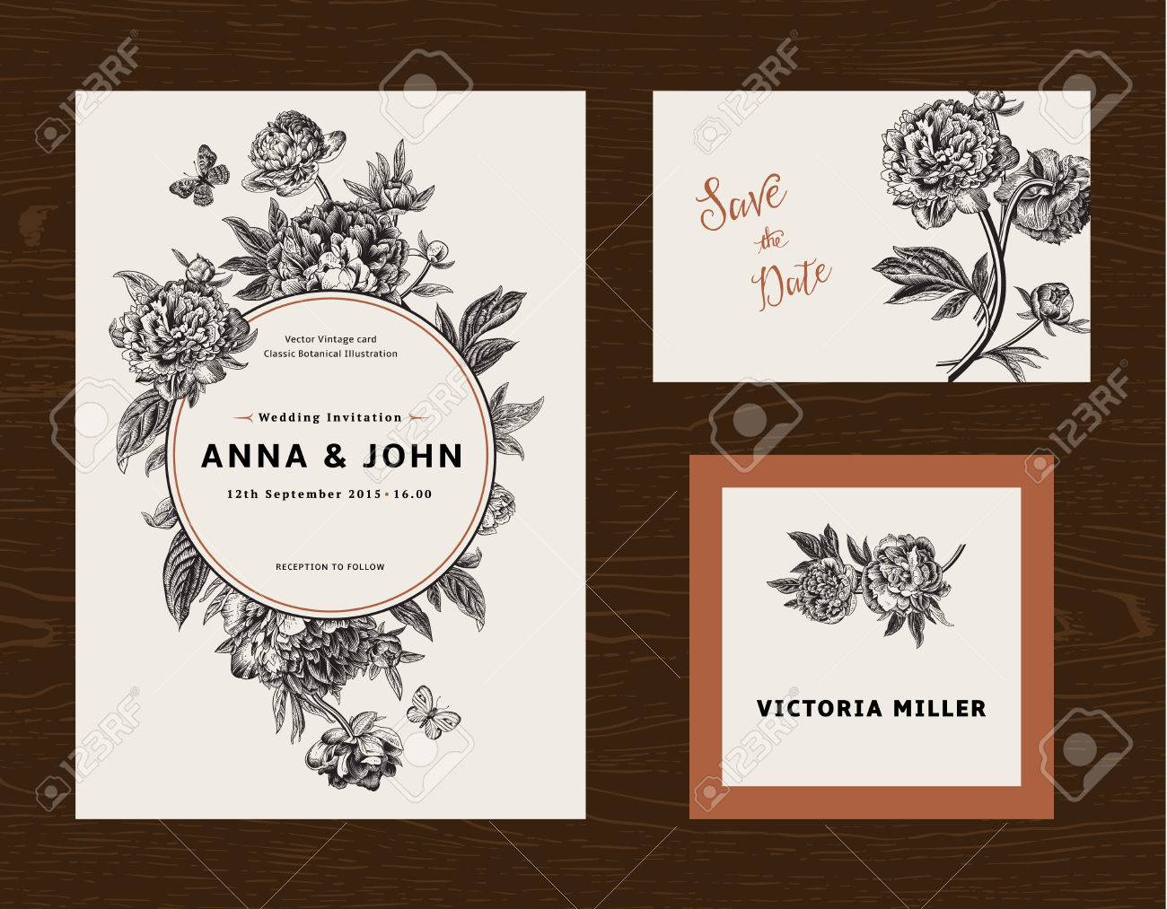 Wedding set. Menu, save the date, guest card. Black and white flowers peonies. Vintage vector illustration. - 50286897