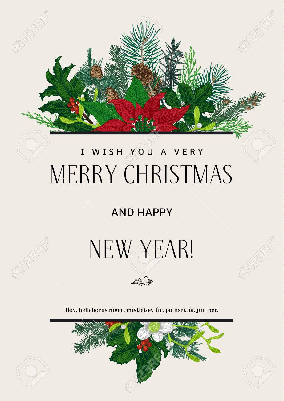 i wish you a very merry christmas and happy new year design element