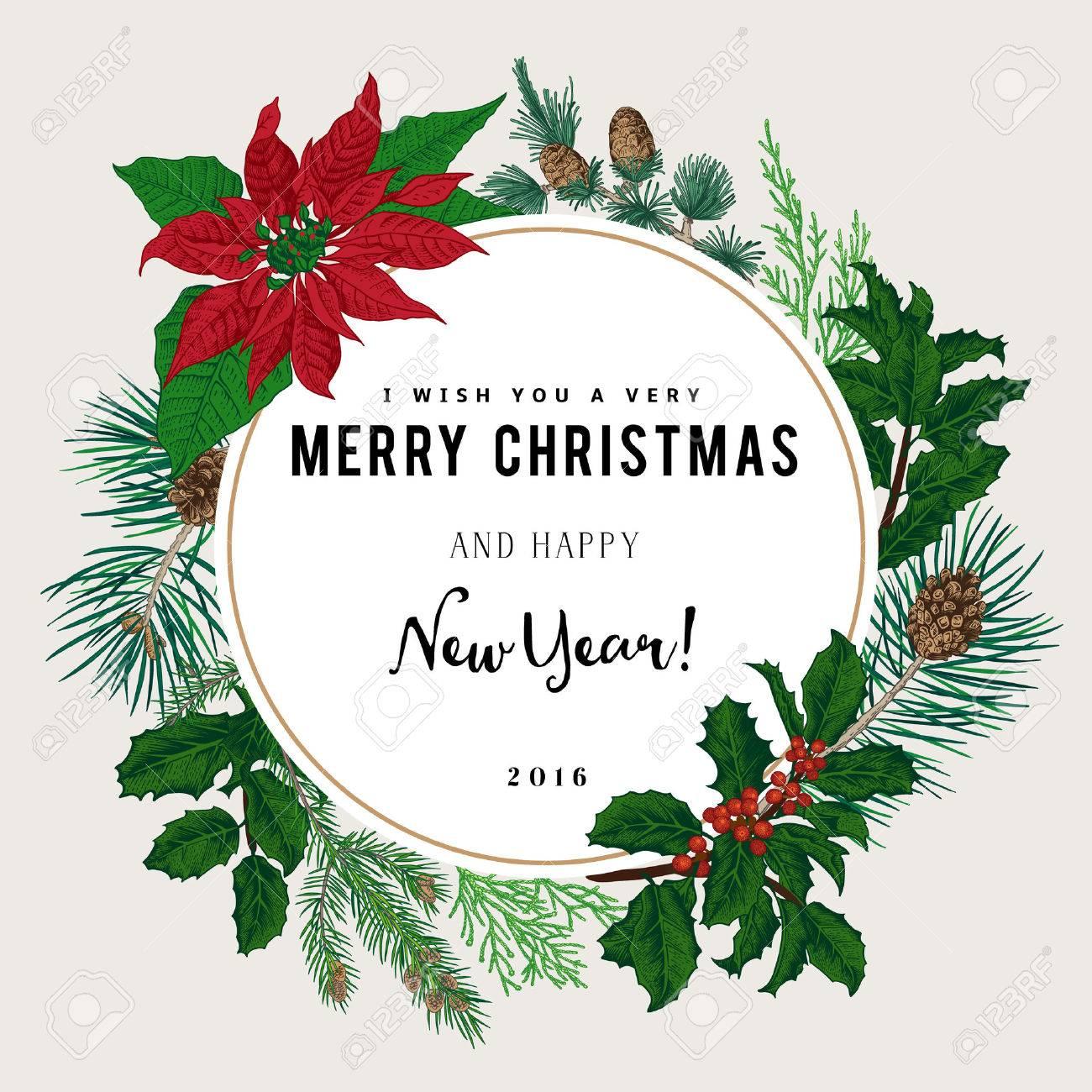 Joyeux Noel Souhaite.Vintage Carte De Vecteur Je Vous Souhaite Un Tres Joyeux Noel Et Bonne Annee La Couronne De Branches D Arbres Differents
