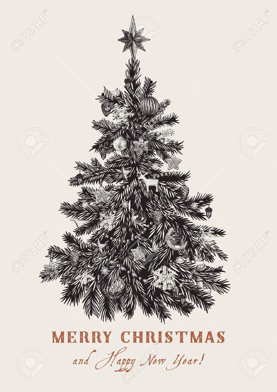 Christmas Tree Vector Vintage Illustration Black And White Royalty Free Cliparts Vectors And Stock Illustration Image 46779714