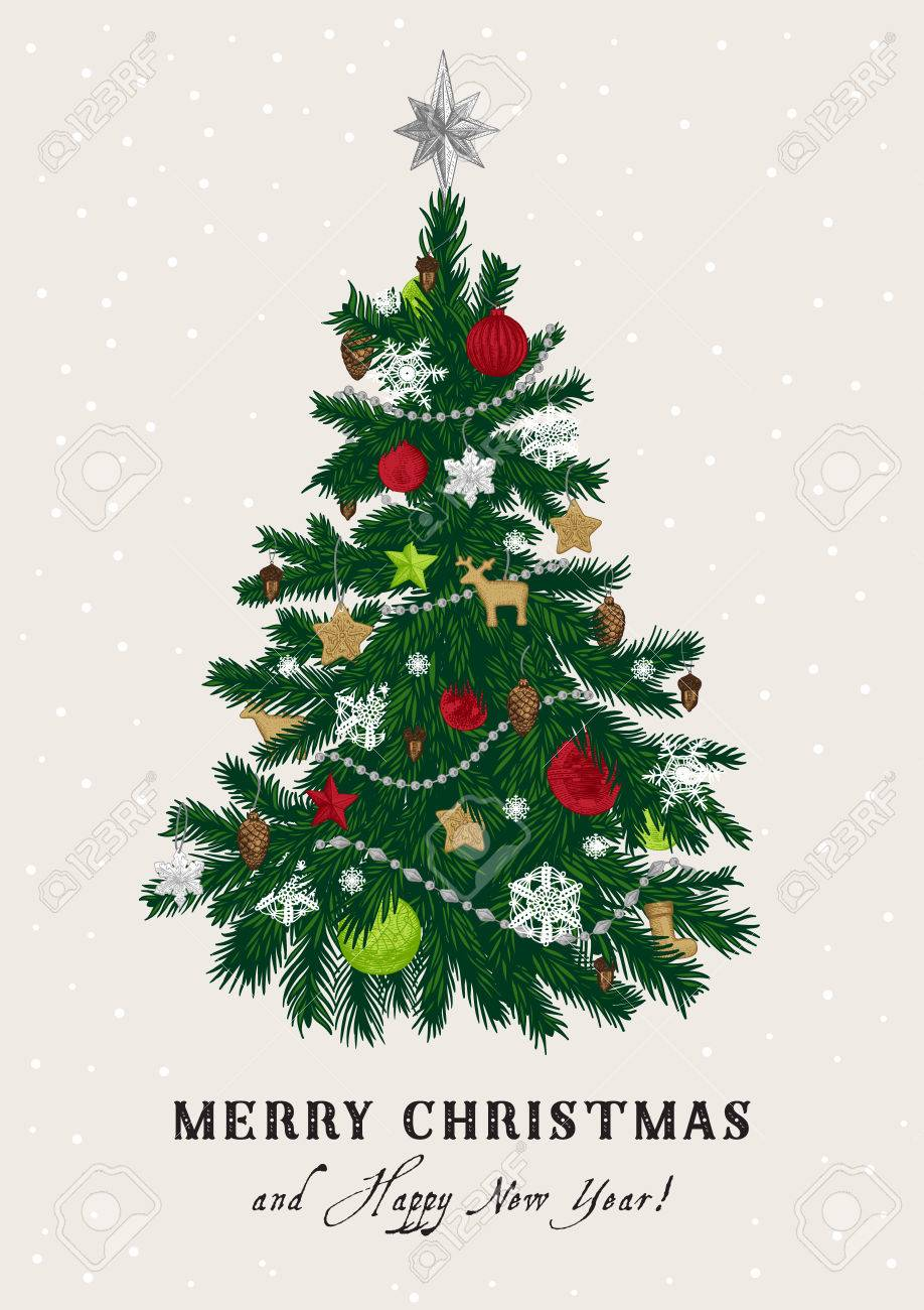 Christmas Tree Vector Image.Christmas Tree Vector Vintage Illustration Merry Christmas
