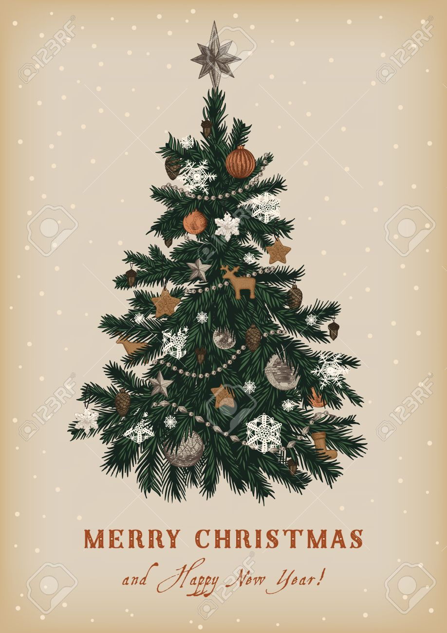 Christmas Tree. Vector Vintage Illustration. Merry Christmas ...