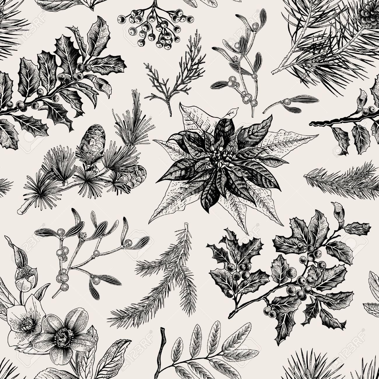 Seamless vintage pattern. Christmas Botanical background. Stock Vector - 46939440