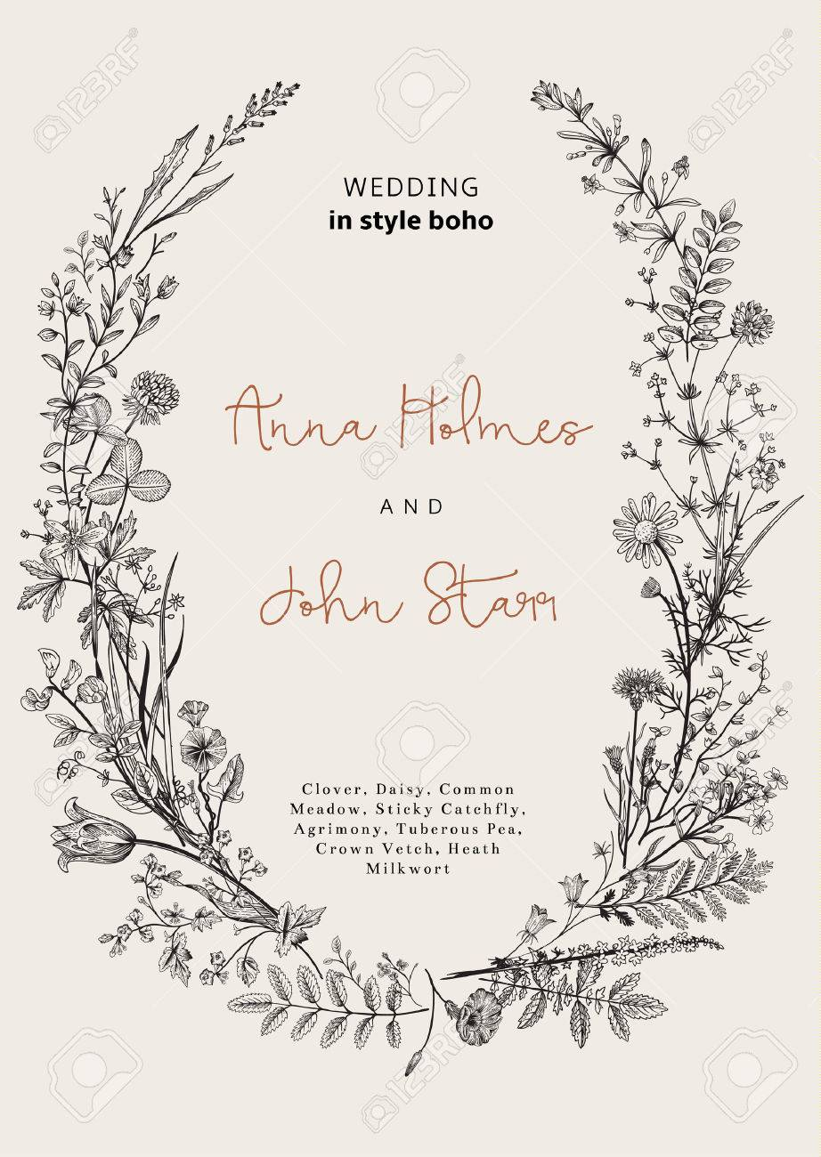 The wreath of wild flowers. Wedding invitation in the style of boho. Vector vintage illustration. - 52411602
