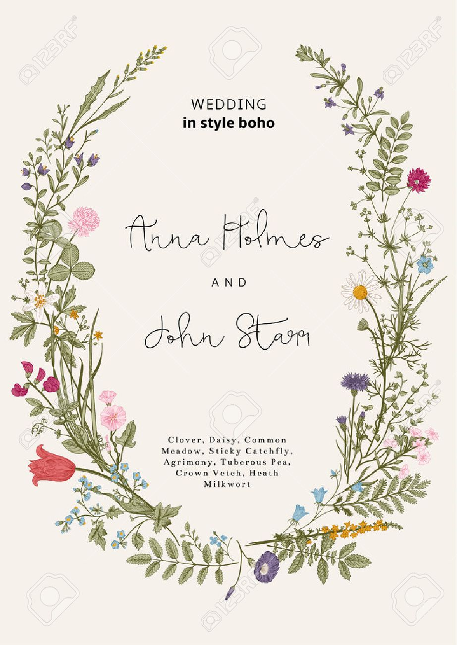 The wreath of wild flowers. Wedding invitation in the style of boho. Vector vintage illustration. - 52411618