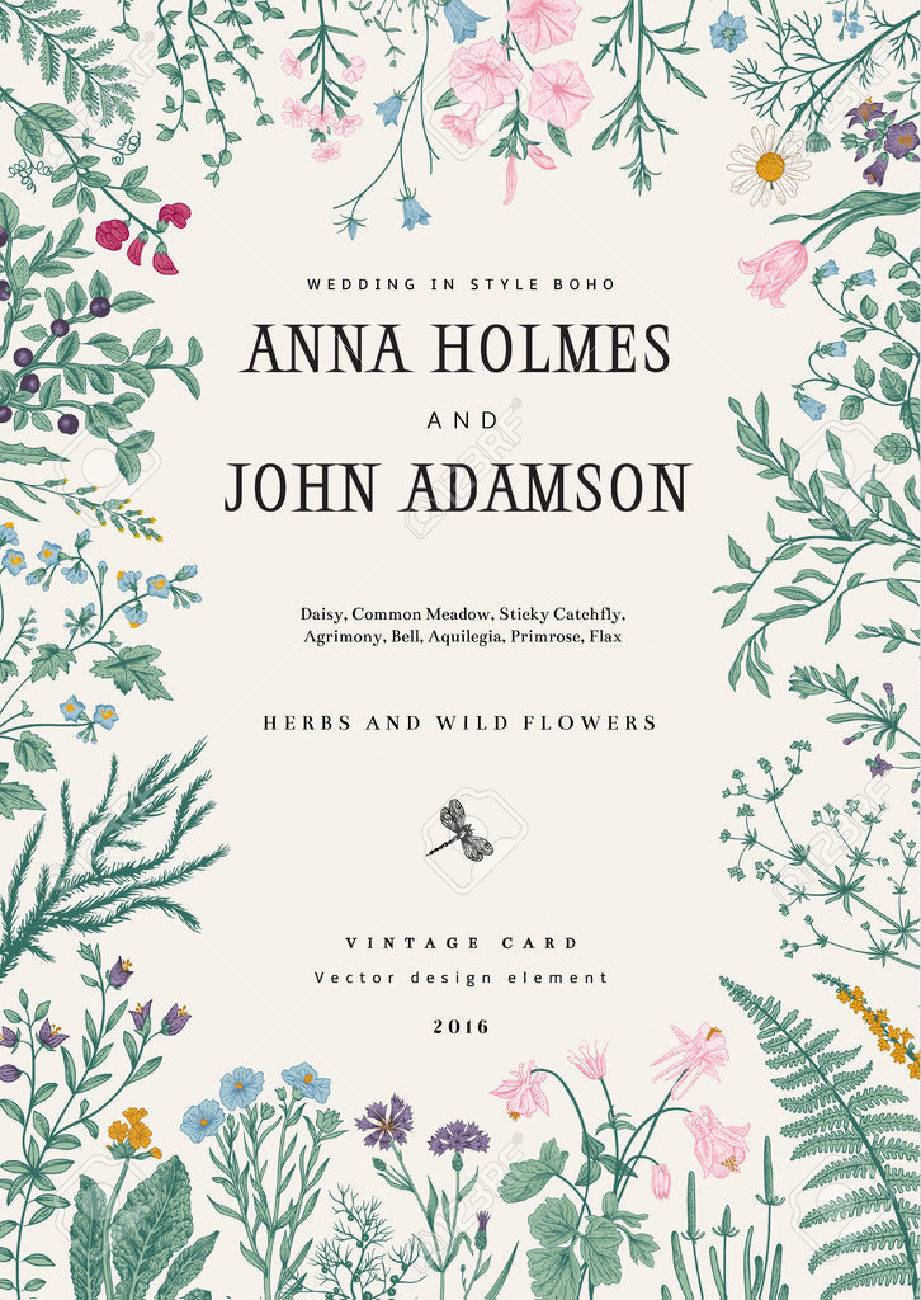The frame of herbs and wild flowers. Wedding invitation in the style of boho. Vector vintage illustration. Colorful - 53275960