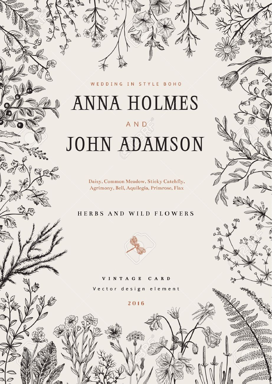The frame of herbs and wild flowers. Wedding invitation in the style of boho. Vector vintage illustration. Black and white - 53275970