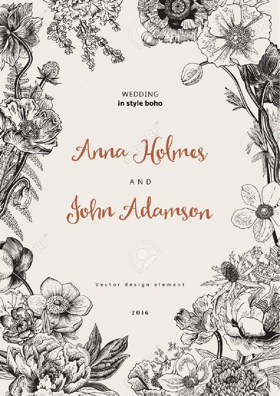 Wedding invitation. Spring Flowers. Poppy, anemones, peony. Vintage botanical illustration. design element. Black and white - 55014914