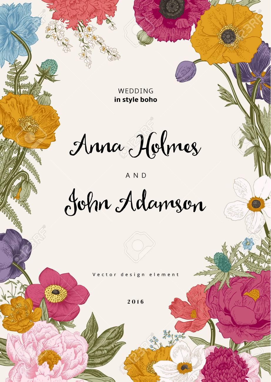 結婚式の招待状春の花ポピーアネモネ牡丹ヴィンテージ植物