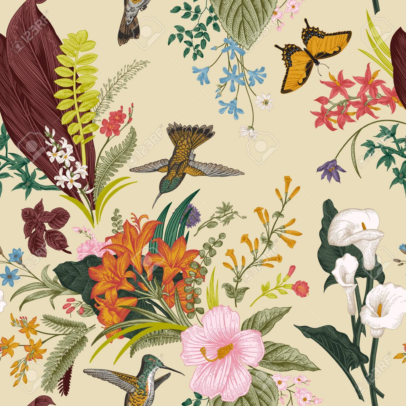 Vector seamless vintage floral pattern. Exotic flowers and birds. Botanical classic illustration. Colorful - 64657530