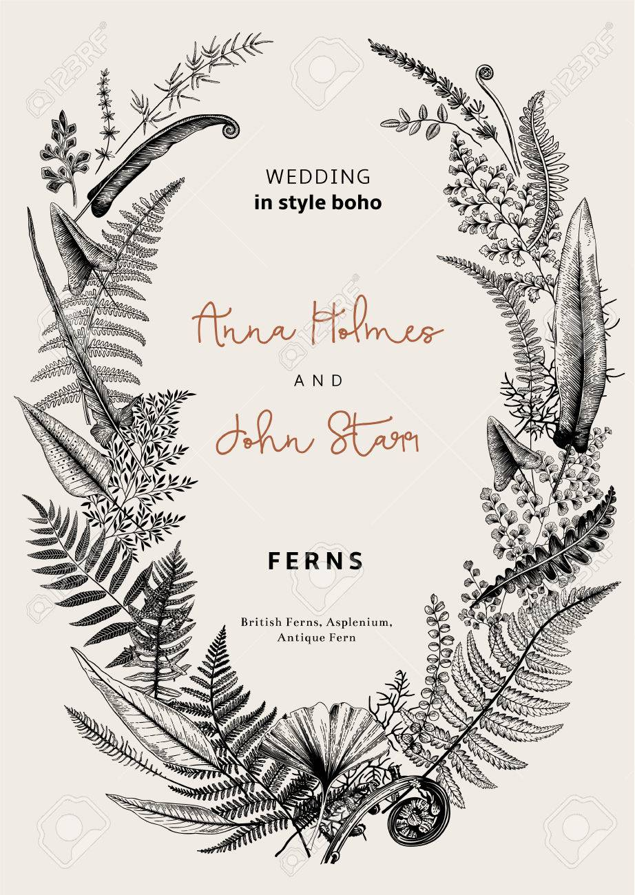 The wreath of ferns leaves wedding invitation in the style of the wreath of ferns leaves wedding invitation in the style of boho vector botanical stopboris Image collections