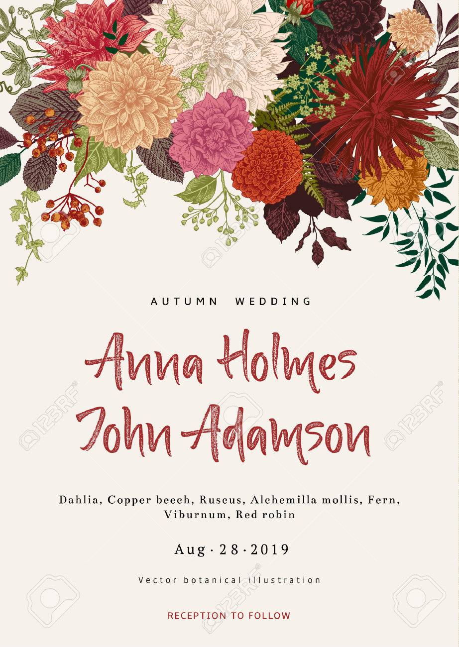 Wedding Invitation. Summer And Autumn Flowers. Dahlias, Ruscus ...