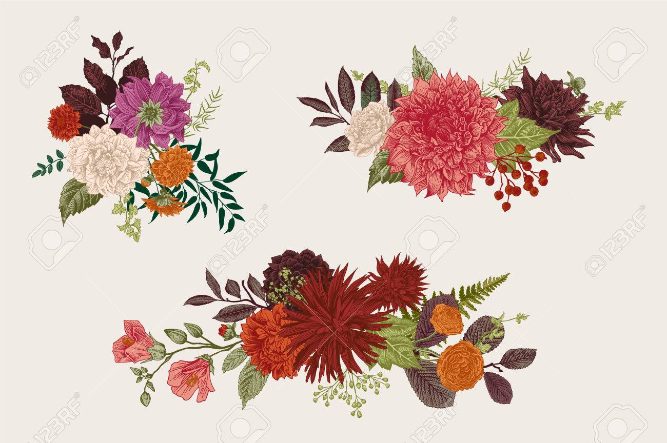 Summer And Autumn Set Floral Bouquets. Dahlias, Ruscus, Viburnum ...