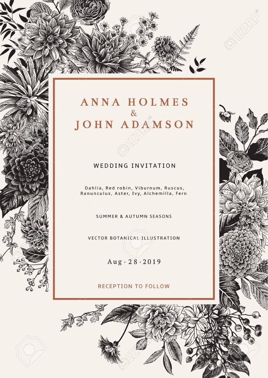 Wedding invitation. Autumn flowers, leaves and berries. Dahlias, Ruscus, Viburnum, Ranunculus. Modern floristics. Vector illustration. Black and white - 83921891