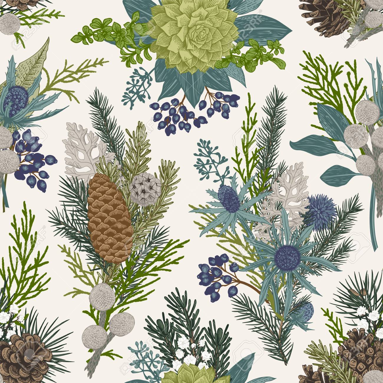 Seamless floral pattern. Winter Christmas decor. Evergreen, cone, succulents, flowers, leaves, berries. Botanical vector vintage illustration. - 89747401