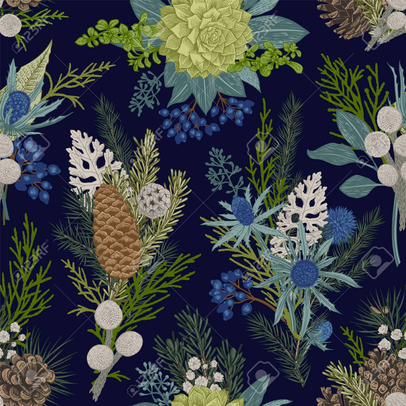 Seamless floral pattern. Winter Christmas decor. Evergreen, cone, succulents, flowers, leaves, berries. Botanical vector vintage illustration. - 89747403