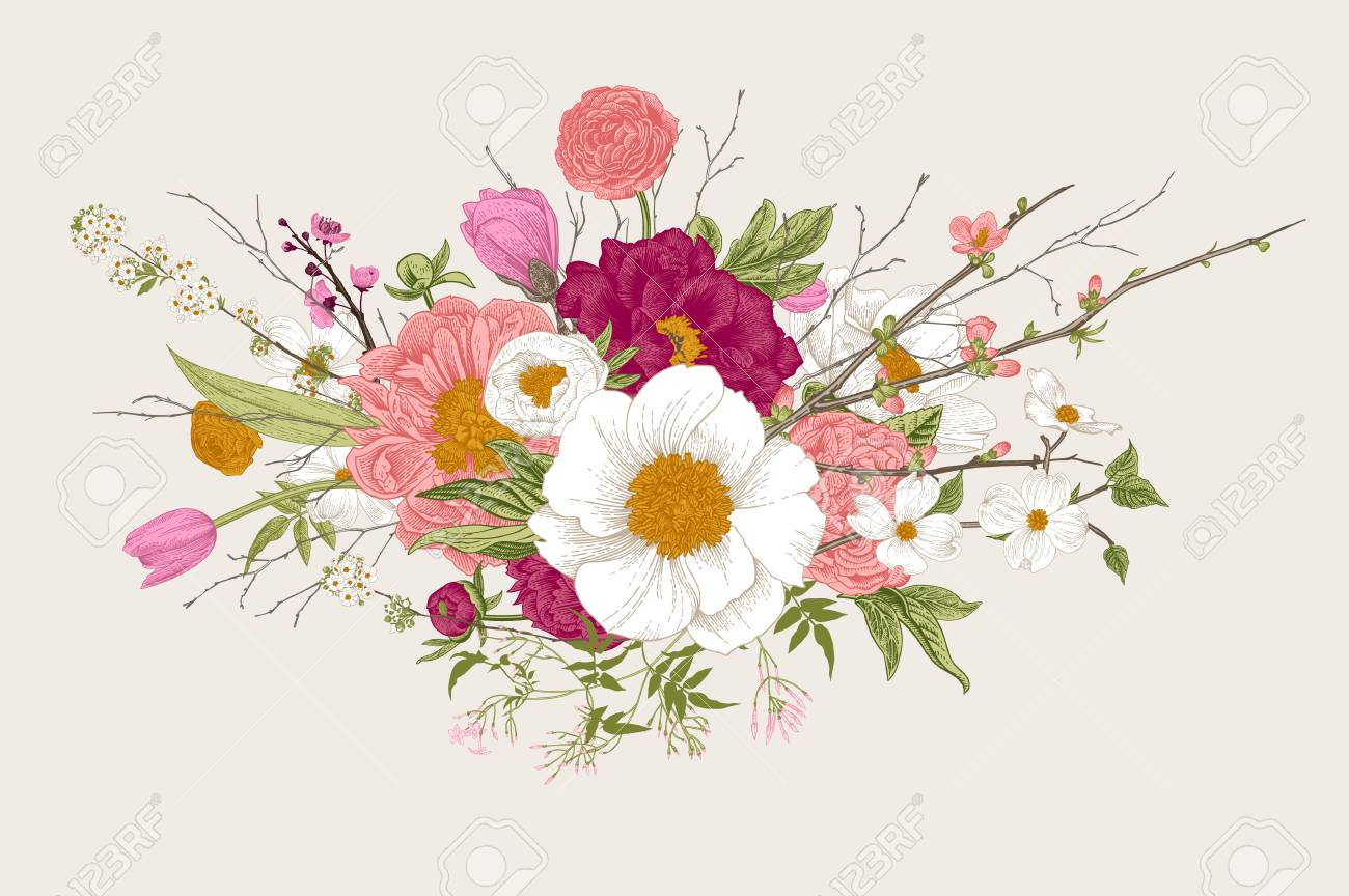 Bouquet spring flowers and twigs peonies spirea cherry blossom bouquet spring flowers and twigs peonies spirea cherry blossom dogwood izmirmasajfo