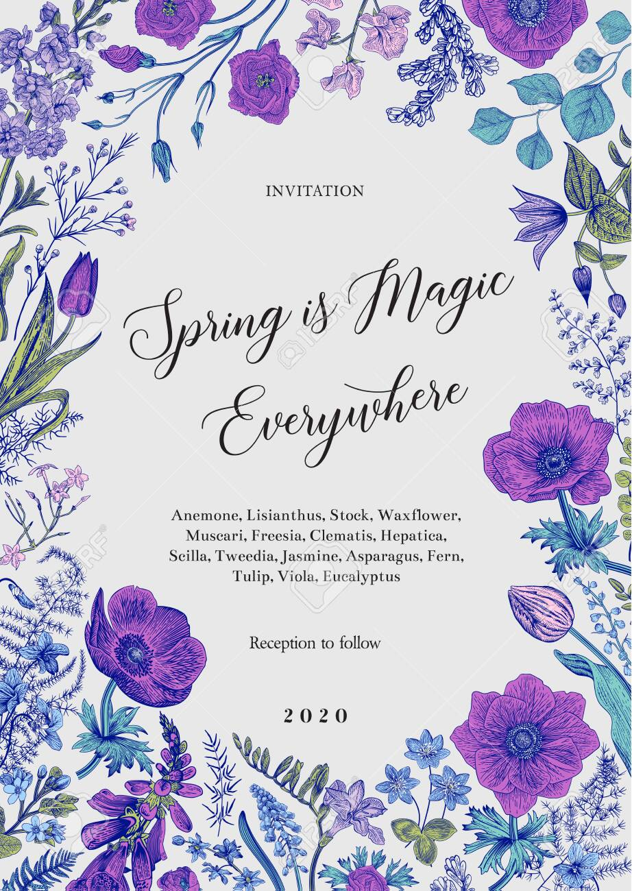 Spring magic. Invitation. Spring flowers with a blue contour. Vector vintage illustration. - 122863397