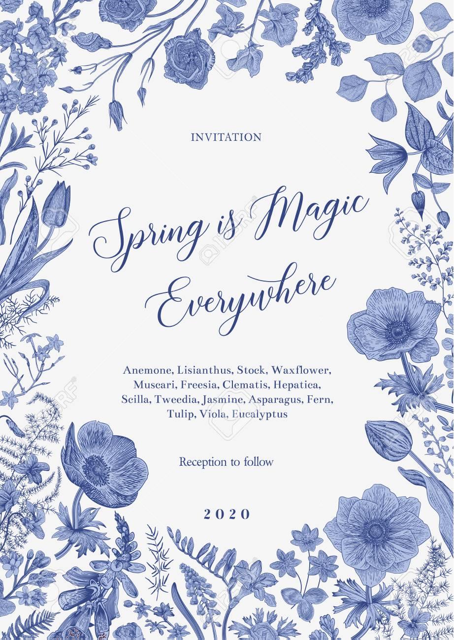Spring magic. Invitation. Vector vintage illustration. Blue and white. Toile de Jouy - 122863399