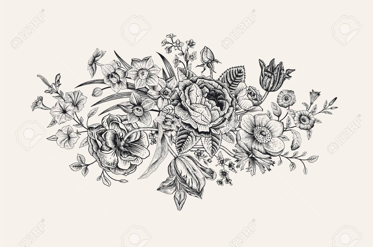 Vintage floral vector card. Victorian bouquet. Classic botanical illustration. Black and white - 133949821