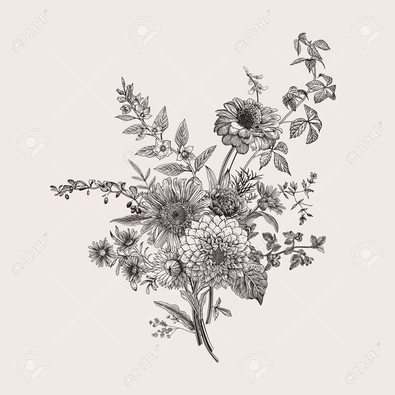 Autumn Flowers Classic Flower Arrangement Vector Botanical Royalty Free Cliparts Vectors And Stock Illustration Image 133951631