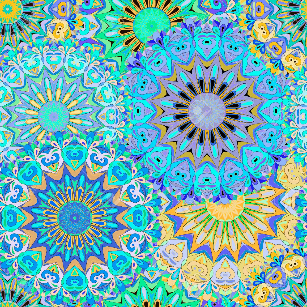 Colorful Seamless Pattern Mandala Can Be Used For Wallpaper