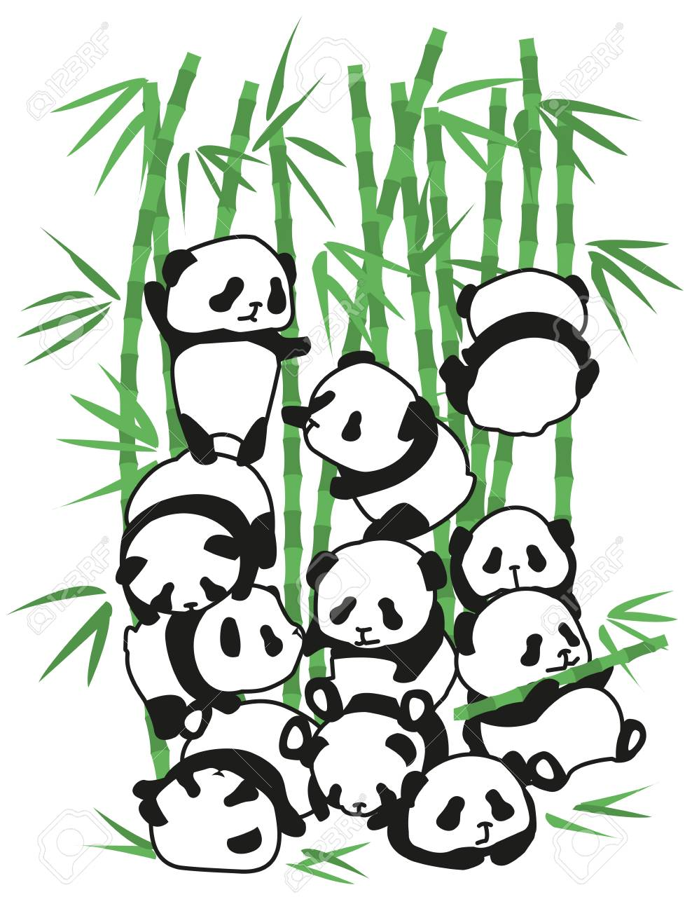 Bambini Di Vettore Dell Illustrazione Dell Orso Del Panda Giovane