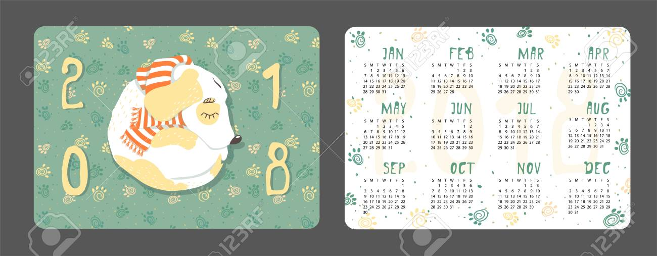 new years vector calendar with a dog 2018 chinese animal symbol design date