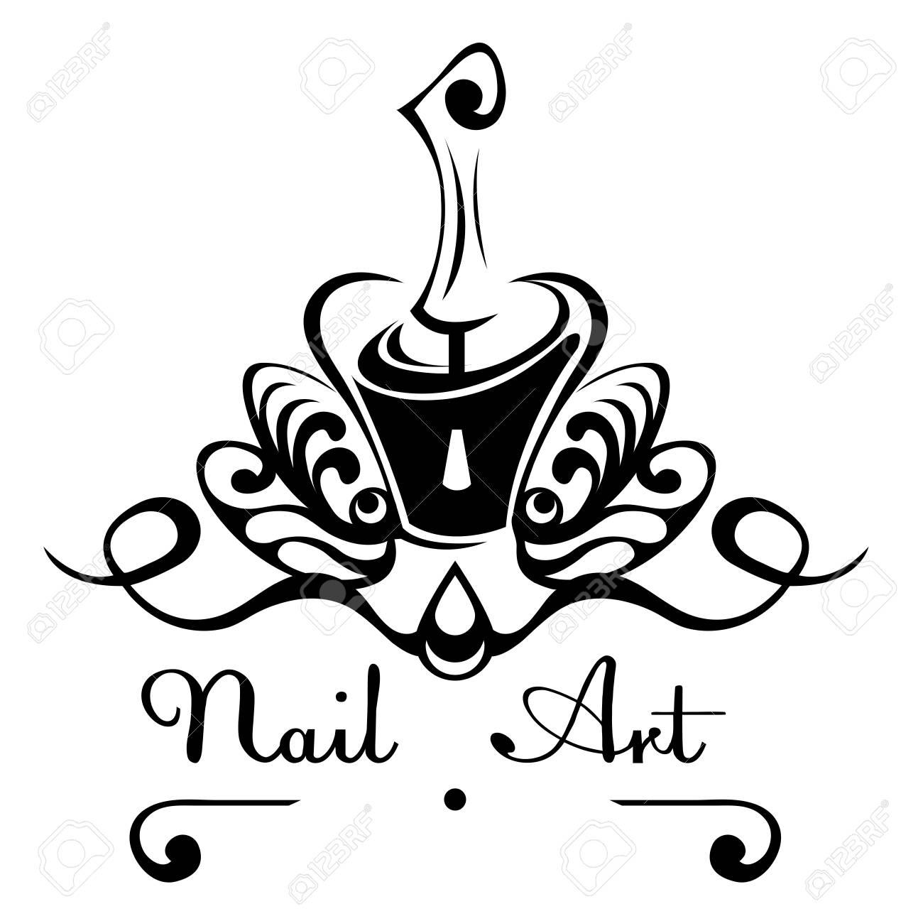 Nail Art Abstract Vector Logo Bottle Of Nail Polish With A Brush
