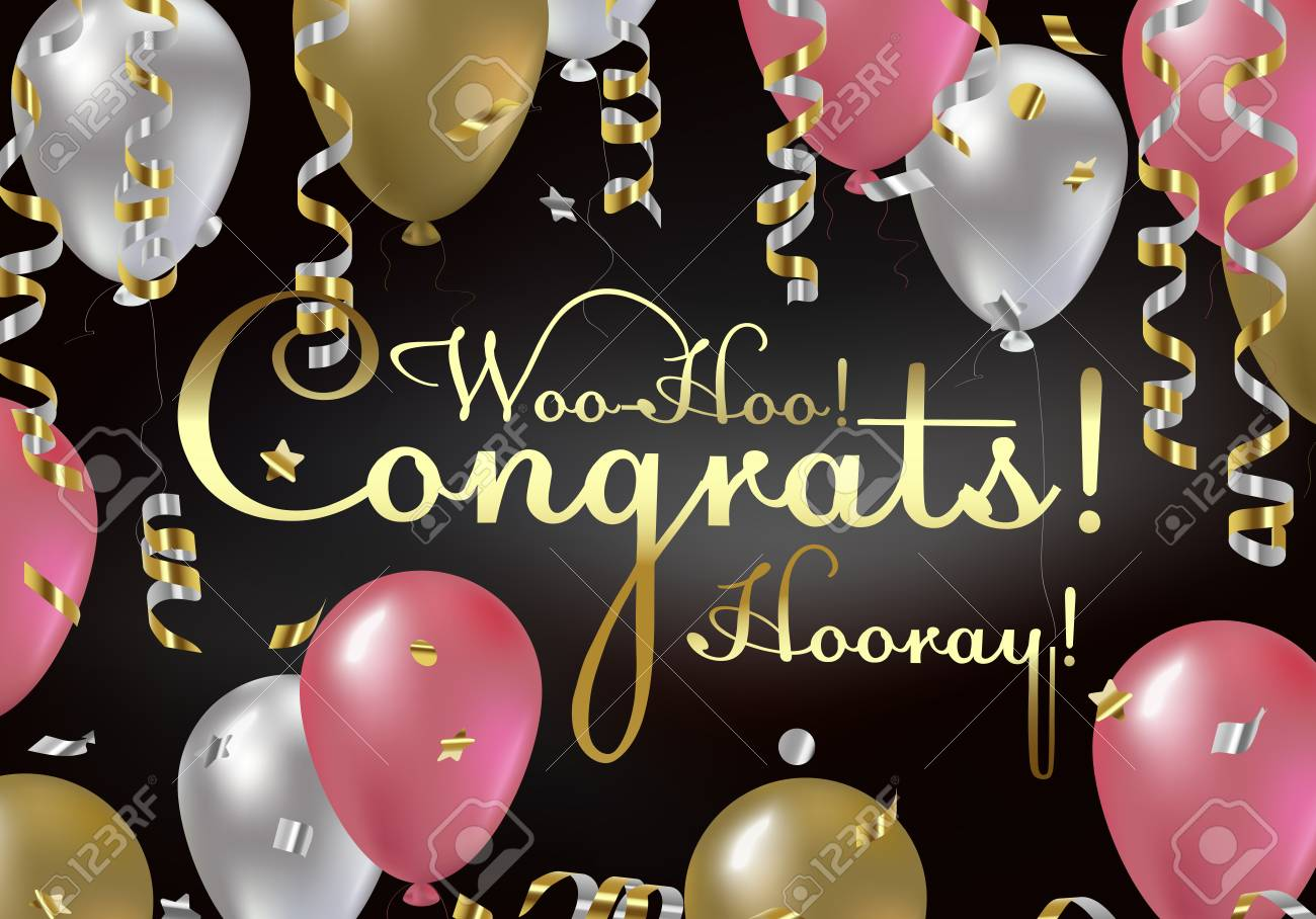 Congratulations Vector Illustration Happy Birthday You Are Invited To A Party Balloons