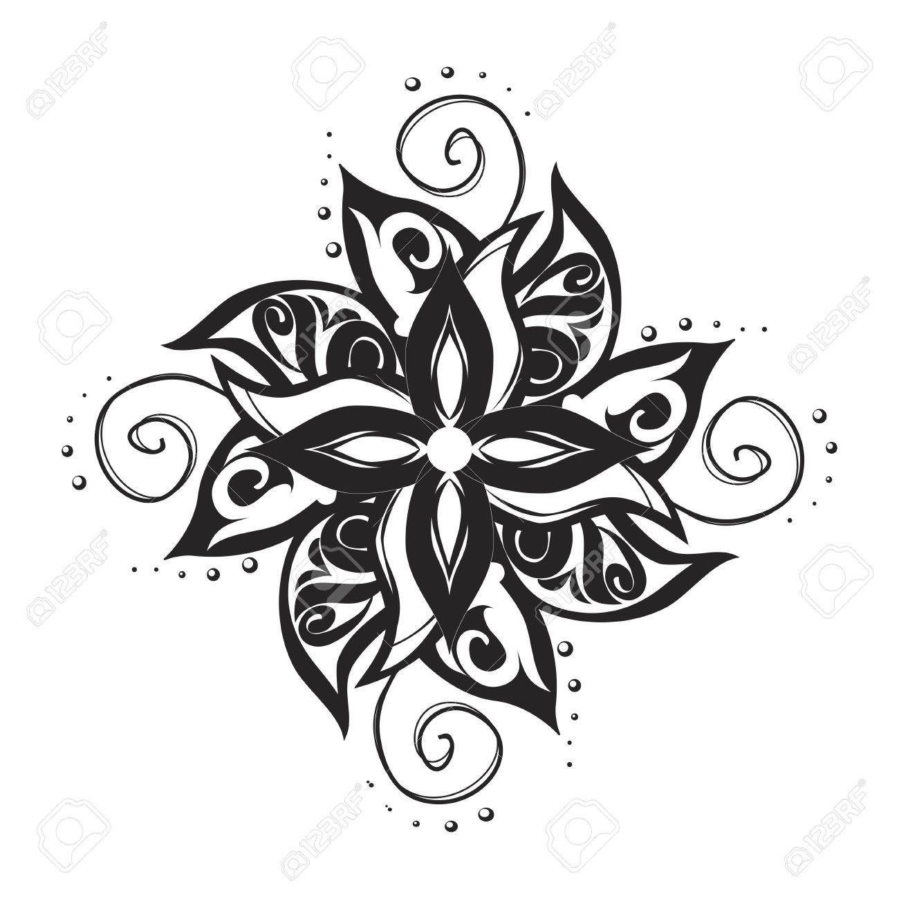 Tatuaje Blanco Y Negro Ornamento Artístico Ilustraciones Vectoriales