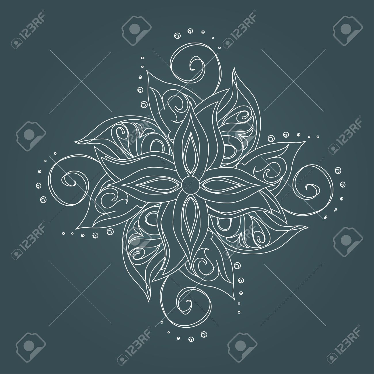 Abstract floral pattern  Stylized flower against dark green background Stock Vector - 16253662