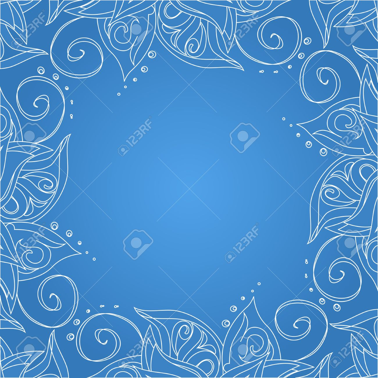 Blue background with floral ornament and space for your text  Template frame design for card Stock Vector - 16566021
