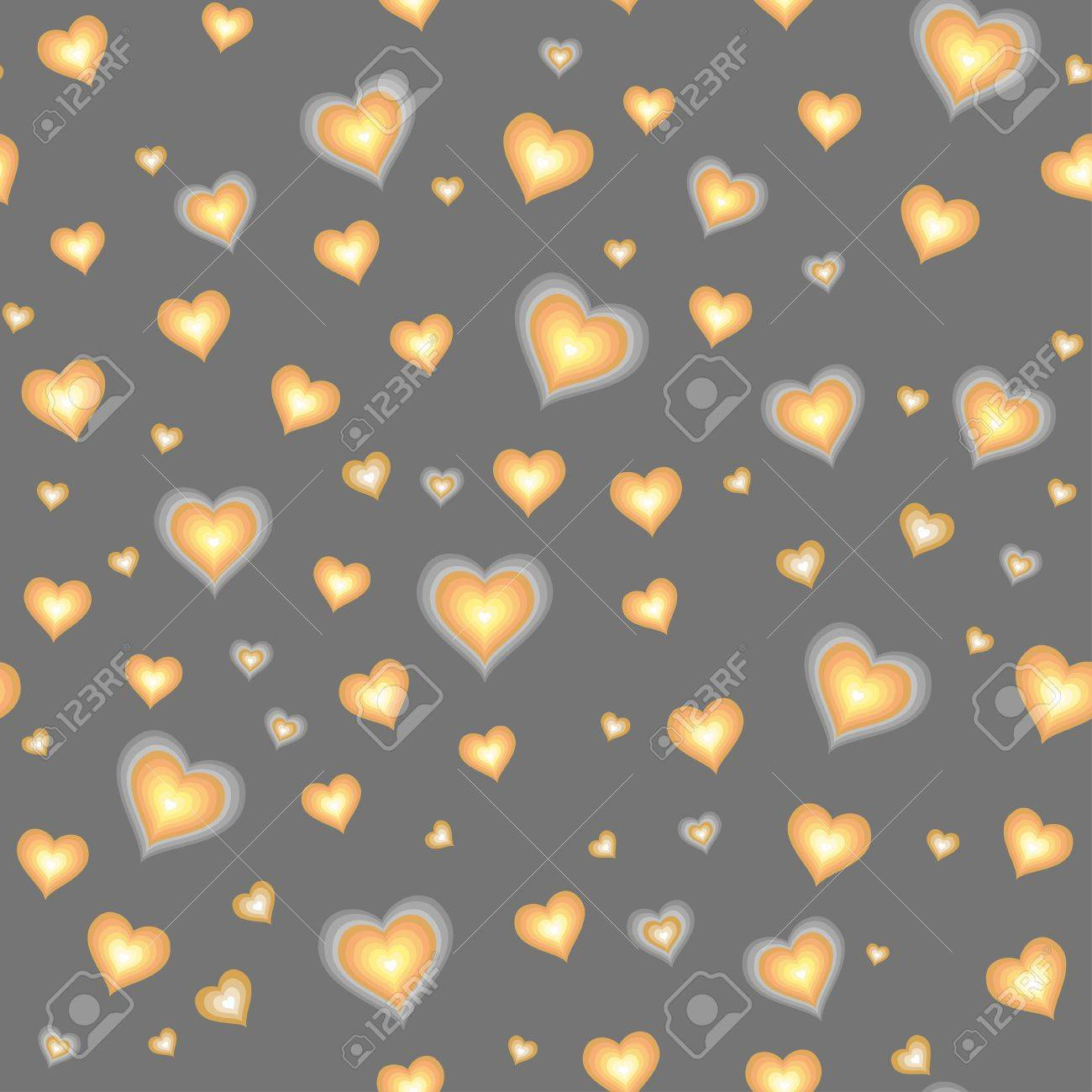 Cartoon hearts against grey background  Seamless pattern Stock Vector - 18139711