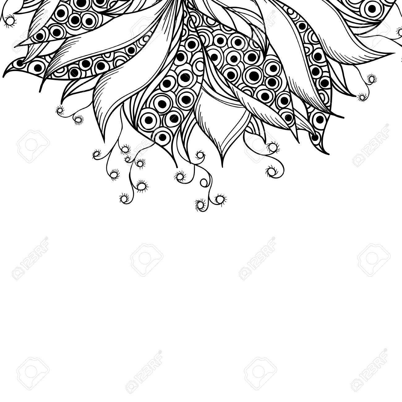 Card Template With Fantasy Flower Black And White Tattoo Pattern