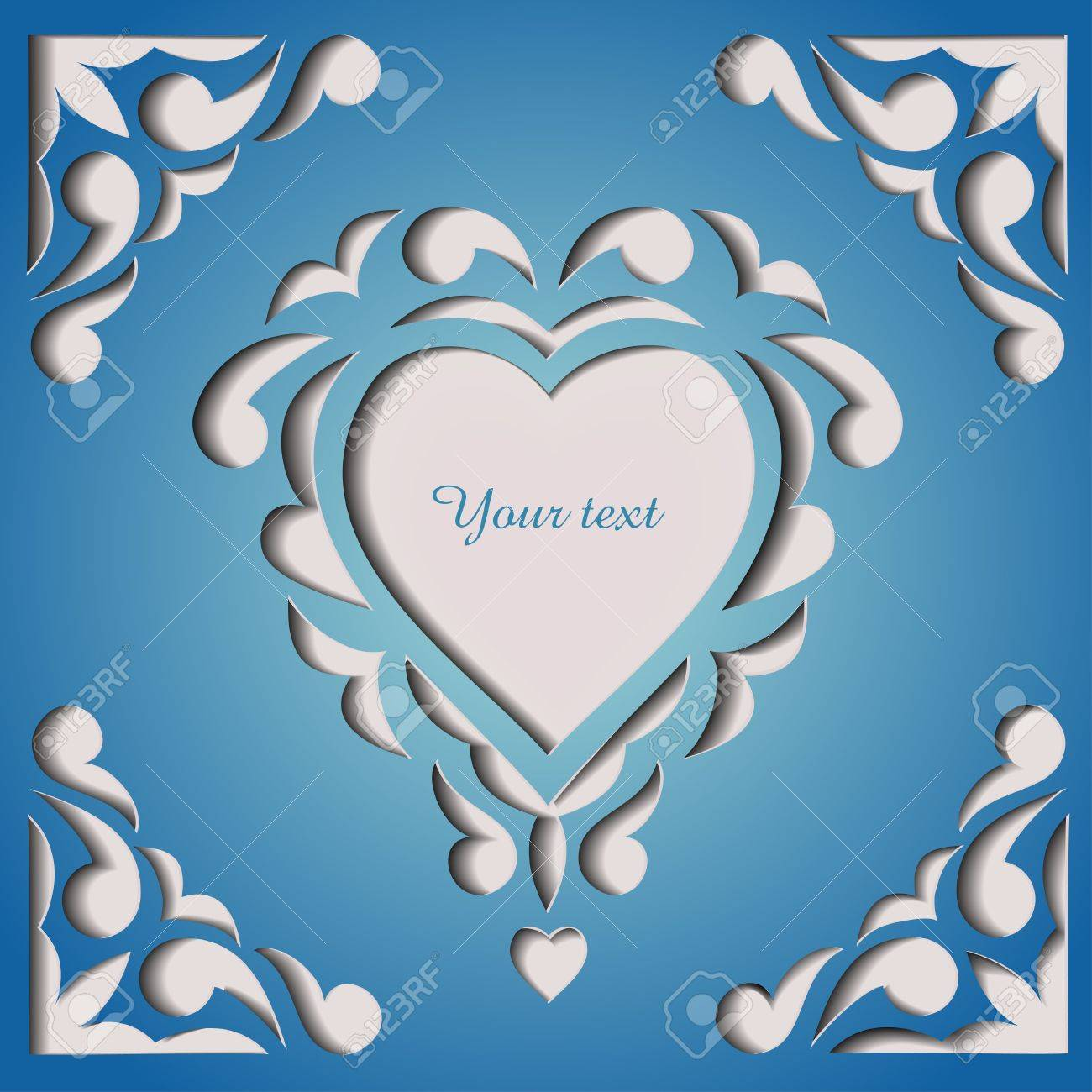 Paper Cutout Card With Heart Template Frame Design Royalty Free ...