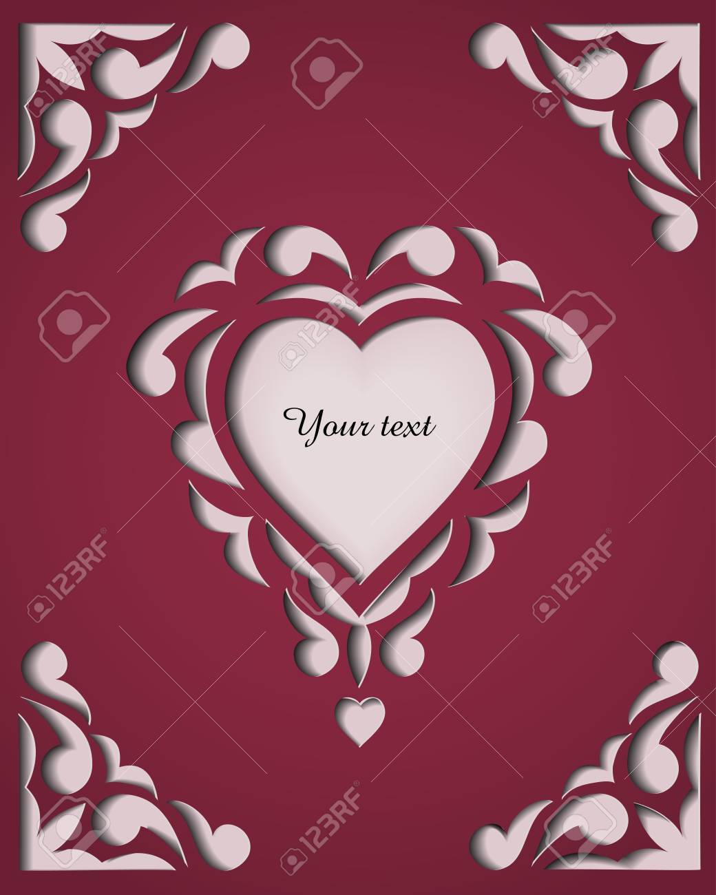 Paper Cutout Card With Heart Template Frame Design Stock Photo ...
