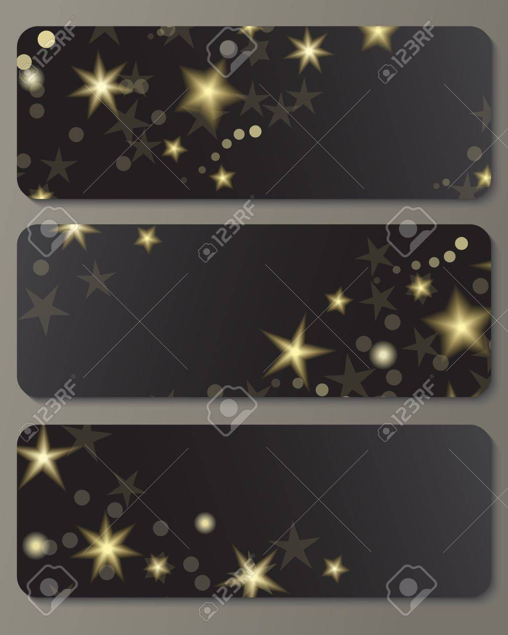 Banners with shiny golden stars against black background  Great holiday design Stock Vector - 19601354