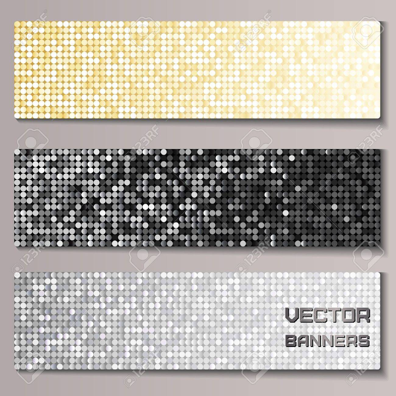 Set of banners with shiny metallic pallettes Stock Vector - 19881976