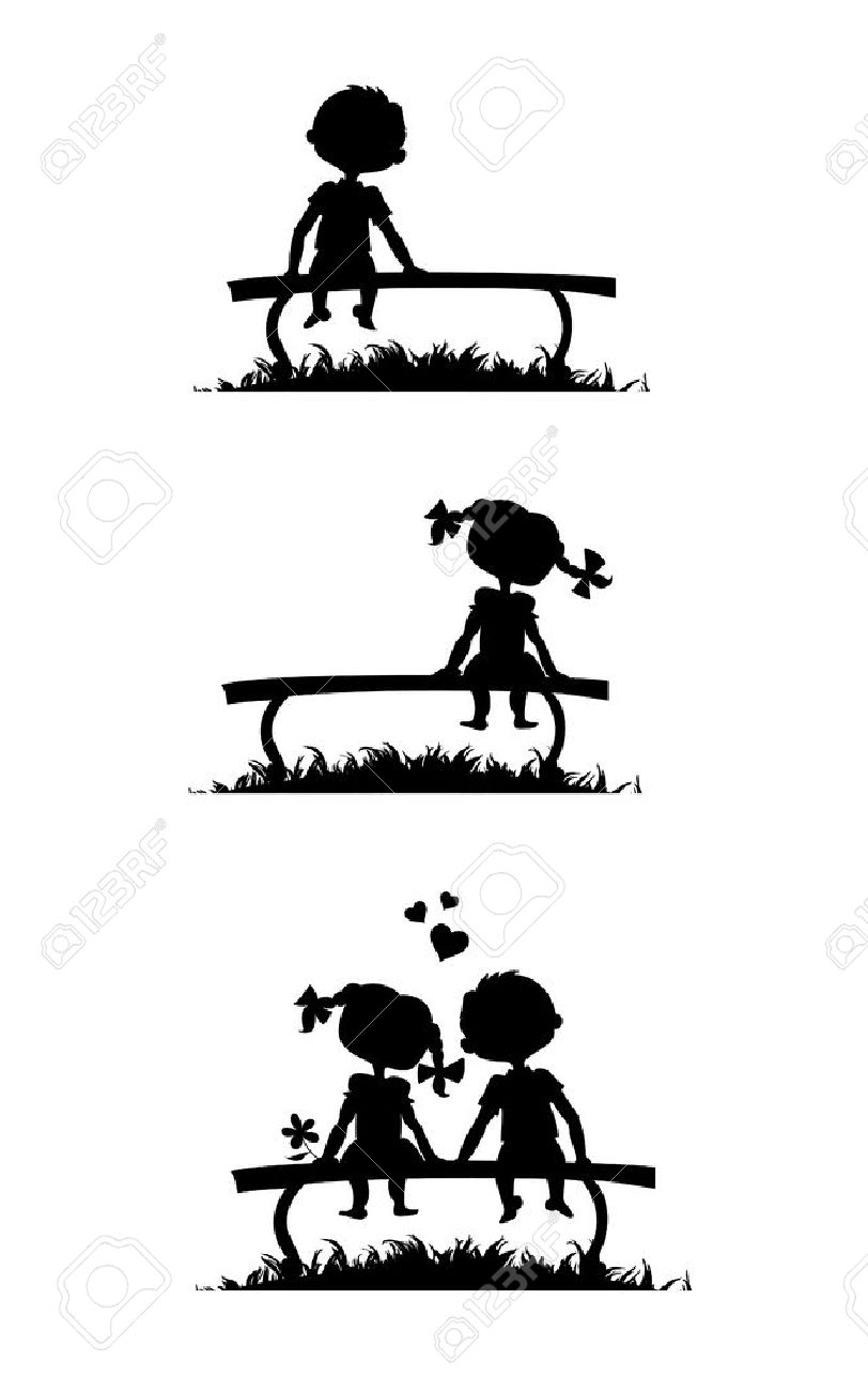 Silhouettes of a boy and a girl sitting on a bench. Love story comics. Stock Vector - 21791586