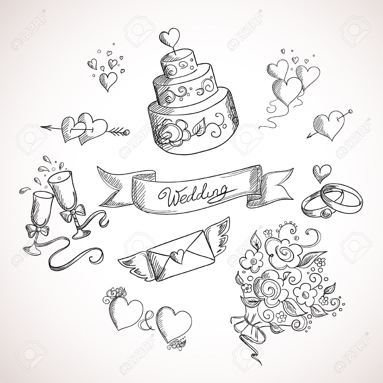 結婚式のデザイン要素のスケッチ。手描きイラスト ロイヤリティフリー