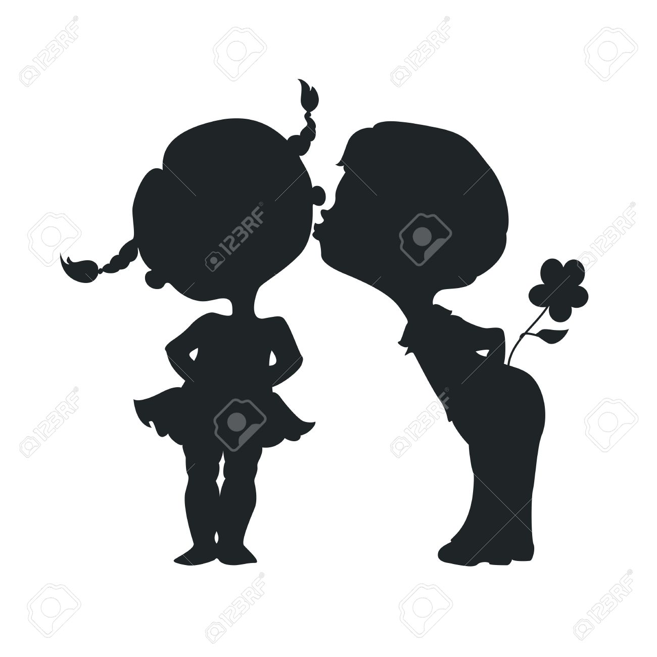silhouettes of kissing boy and girl stock vector 27329945