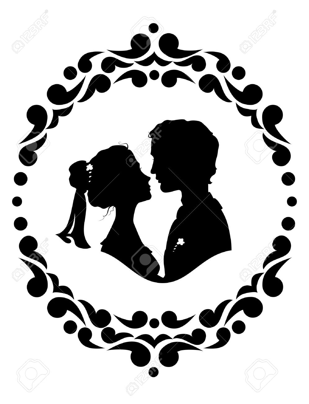 Silhouettes Of Bride And Groom Black Against White Background Stock Vector