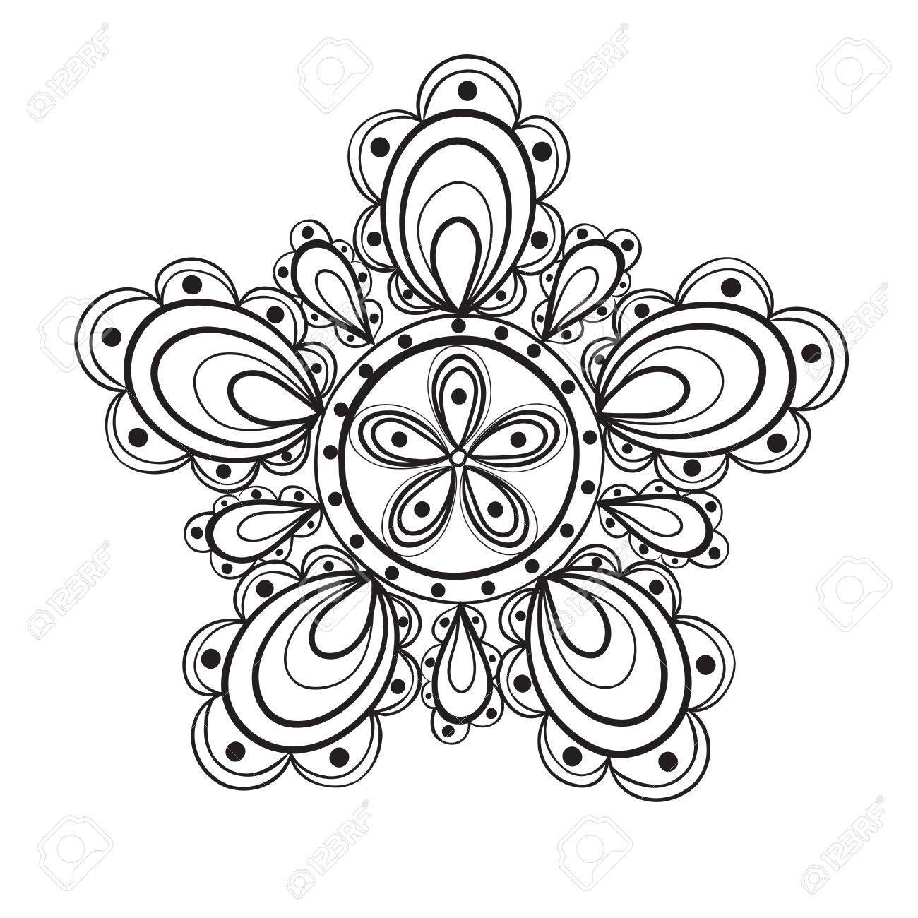 Fantasy Flower Black And White Lace Pattern Royalty Free Cliparts