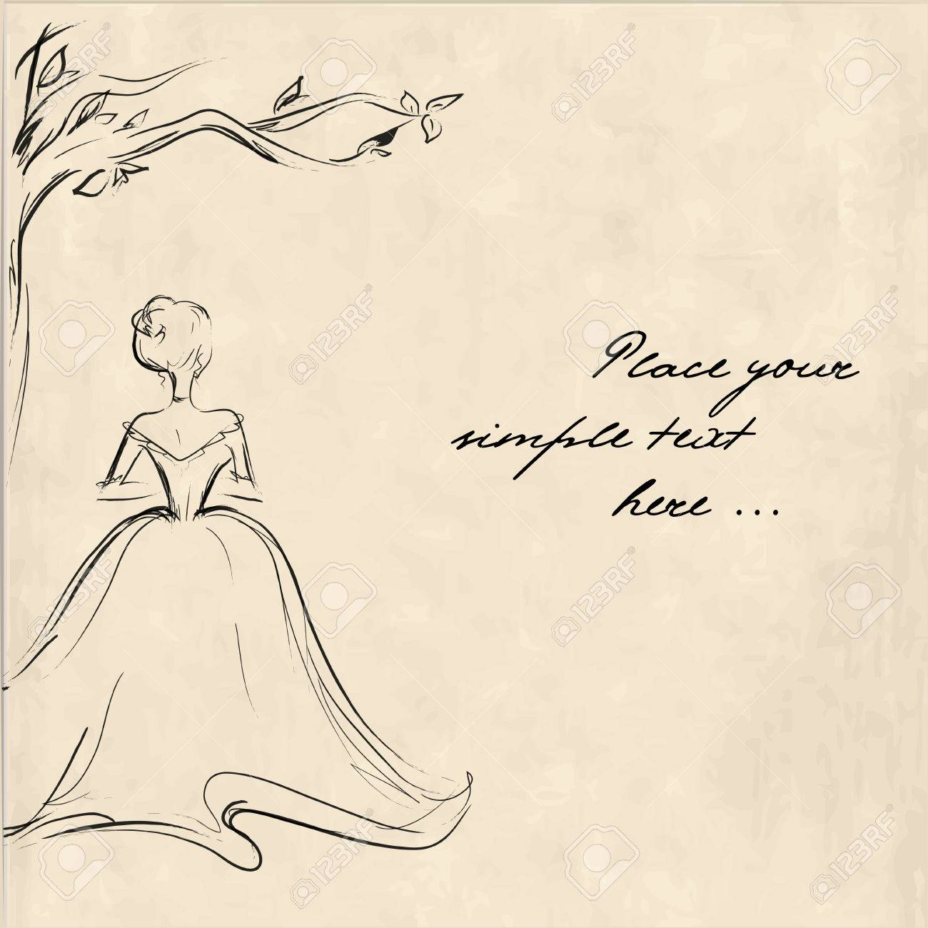 Sketch of a young woman from the back standing lonely under the tree retro illustration