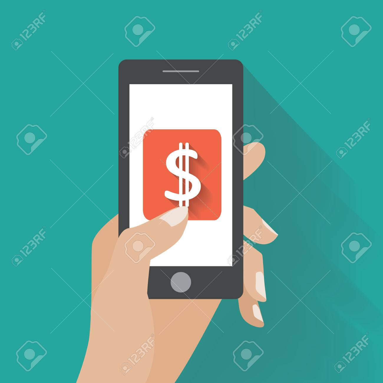 Hand touching smartphone with dollar sign on the screen. Using mobile smart phone silimar to iphon, flat design concept. - 32514723